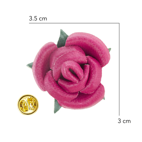 Lapel - PU Leather Pink Rosette