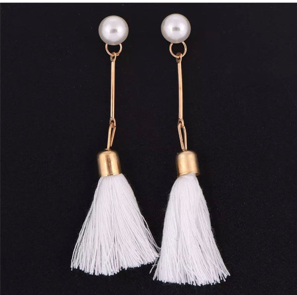 Earrings Pearl & Tassel  - white