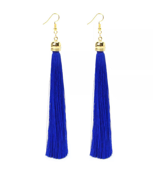 Earrings Long Tassel  - blue