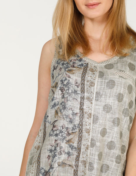 Sleeveless Floral Spot Front Cami