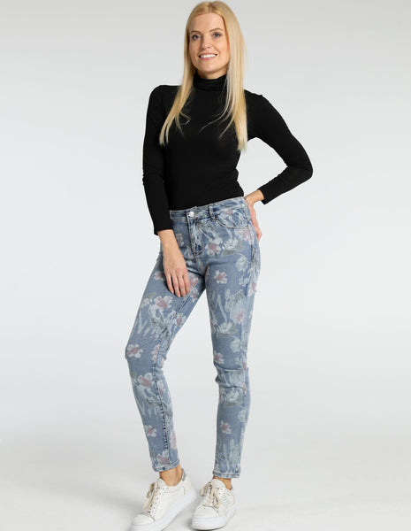 Flower Print Stretch Jean