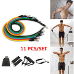 11 pcs 5 Stackable Resistance Bands Set Latex Pilates