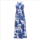Sleeveless Halter Tie Dye Print Dress