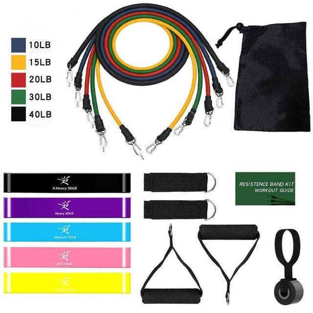 17Pcs Resistance Workout Elastic Bands Set