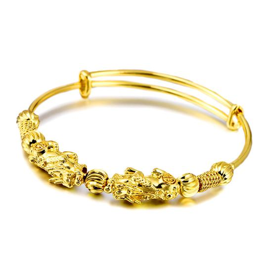 Double Pixiu Gold Wealth Bangle