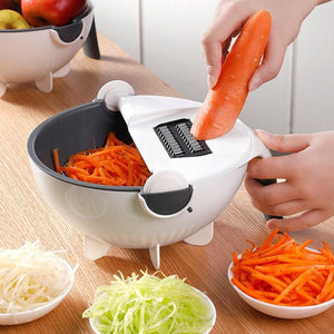 Multi-functional manual vegetable cutter with basket
