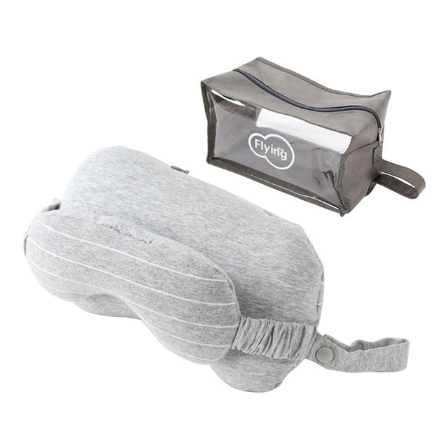 Travel Blue Neck Pillow with Sleeping Eye Mask