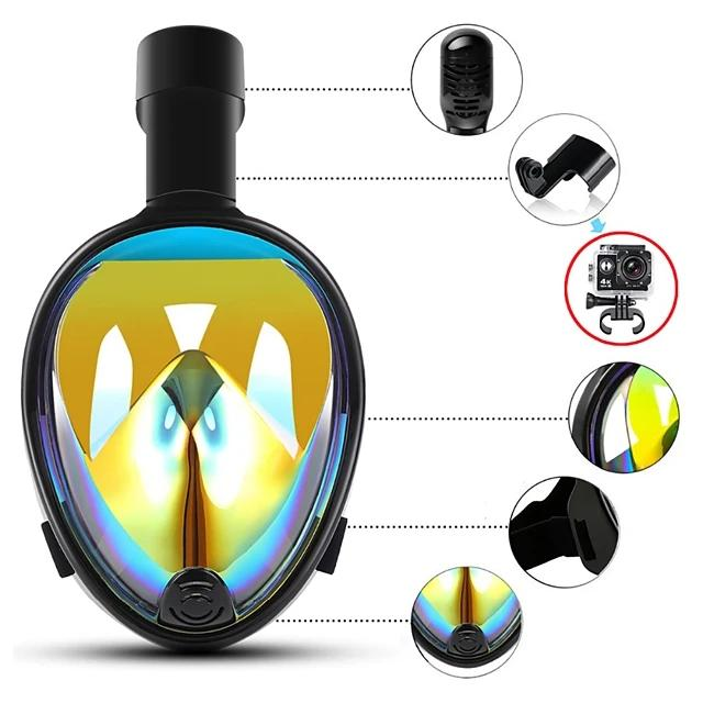 Full Face Snorkel Mask Underwater UV-400 Protection 180 Degree View