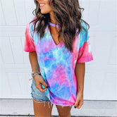Hollow Out Tie Dye Tops Tee