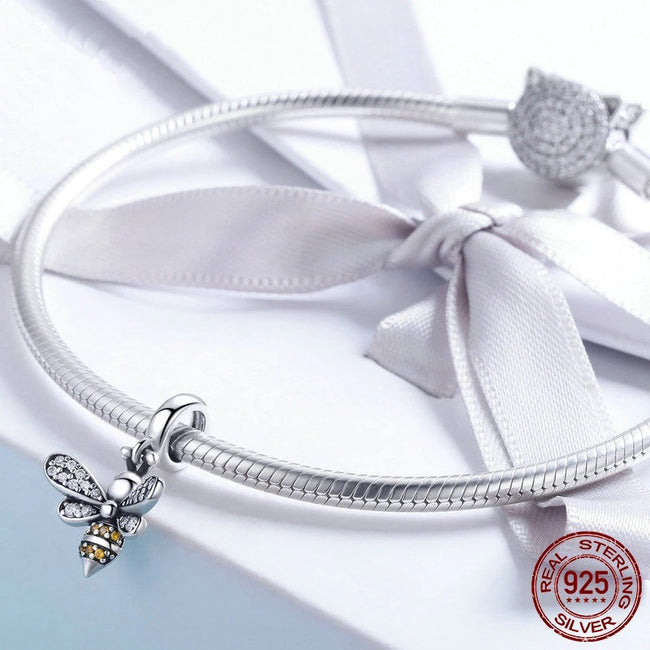 925 Silver Crystal Bee Charm