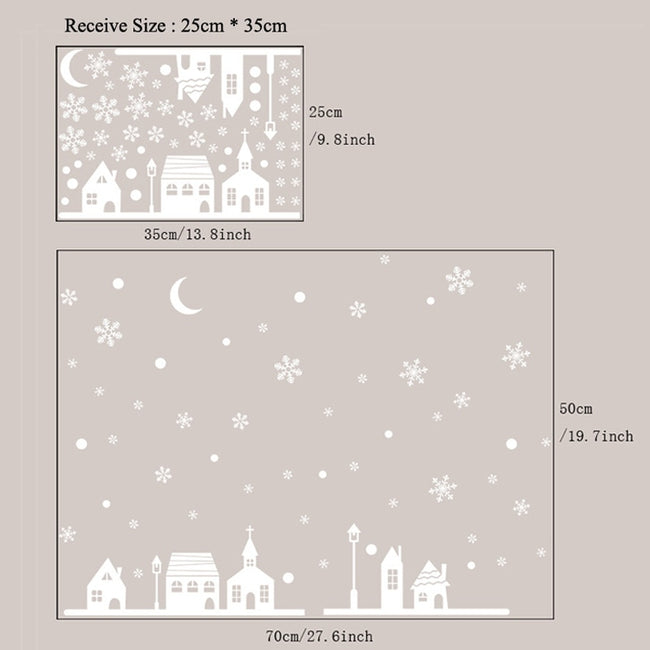 Snowy Night Village Wall Sticker
