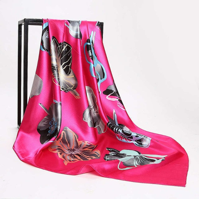 Print Satin Square Silk Women Scarf