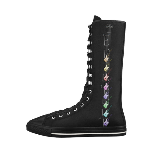 Rock and Roll Canvas Long Boots For Women Model 7013H - Farrell Art