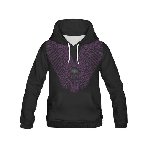 Skull Wing Purple Men's All Over Print Hoodie (USA Size) (Model H13) - Farrell Art