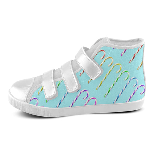 Candy Canes Velcro High Top Canvas Kid's Shoes (Model 015) - Farrell Art