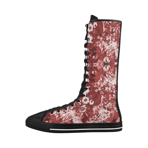 Red Madness Canvas Long Boots For Women Model 7013H - Farrell Art