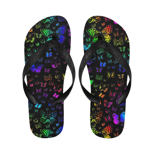 Rainbow Butterflies Flip Flops for Men/Women - Farrell Art