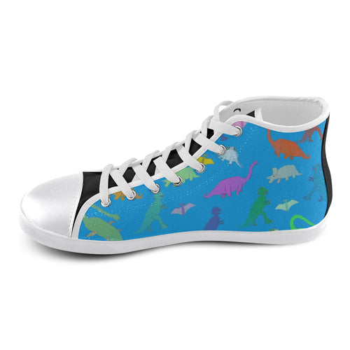 Dinosaurs High Top Canvas Kid's Shoes (Model 013) - Farrell Art
