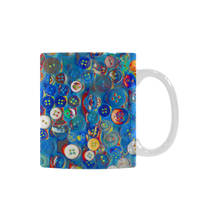Buttons  in Blue White Mug(11OZ) - Farrell Art
