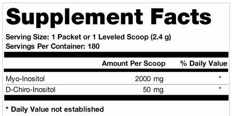 Ovasitol Inositol Supplement contains an unflavored inositol powder. Each serving of Ovasitol Inositol Powder contains myo-inositol (2,000 mg) and D-chiro-inositol (50 mg).
