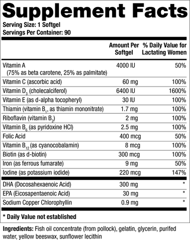 TheraNatal Lactation One softgels provide 6,400 IU of vitamin D3, eliminating the need for infant vitamin D drops.