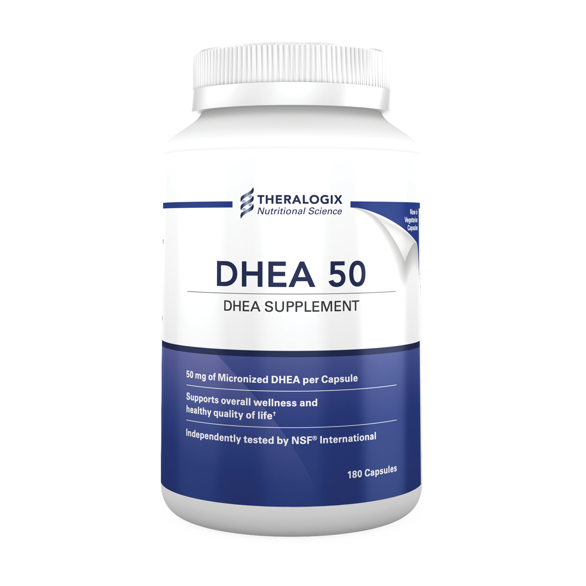 A pharmaceutical-grade DHEA supplement containing 50 mg of micronized DHEA per capsule formulated to support bone health.