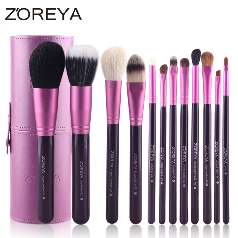 Hot Selling ZOREYA Brand 12pcs Natural Goat hair Makeup Brushes Professional Beauty Brush set Free Shipping