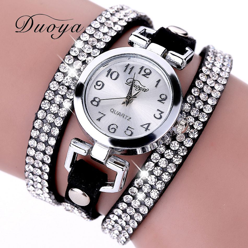 2017 New Luxury Women Watches Crystal Rhinestone Leather Bracelet Quartz