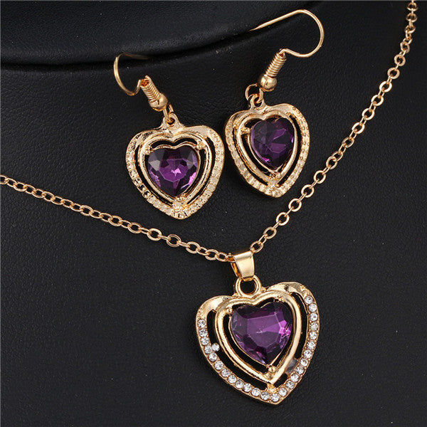 3 Kinds of Design Jewelry Set Austrian Crystal Love Heart Pendant Necklace Earrings for Women Wedding Gift