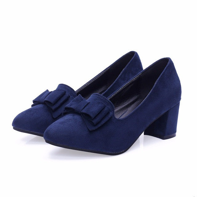 Big Size Slipony Brand bow square heel Party Bow slip on Brand Women shoes