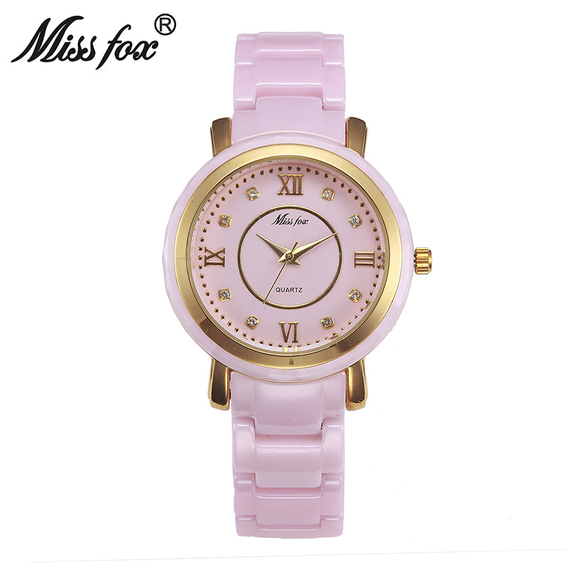 37mm Pink Ceramic Watches For Women Waterproof