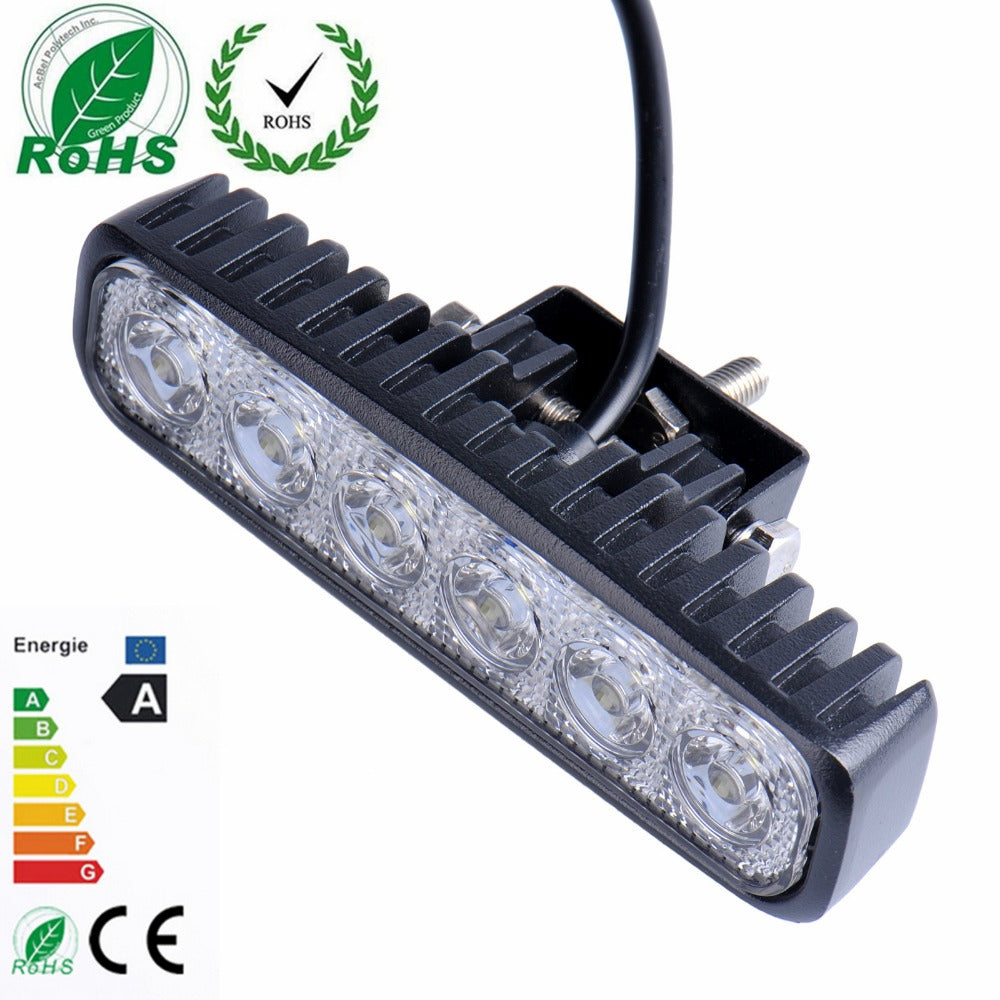 18W Flood LED Work Light Driving Light Bar car-styling For 4x4 Off road SUV Car Truck Trailer Tractor UTV Vehicle Car Light