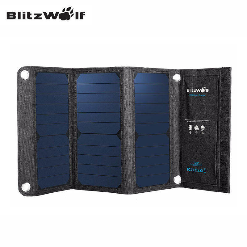 BlitzWolf 20W 3A Foldable Portable Solar Power Bank Powerbank Cell USB Solar Panel Charger
