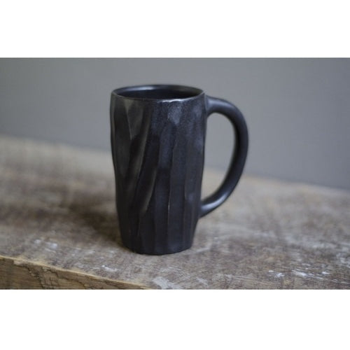 Tall Black Lumber Mug by Roseline Pottery - Clandestine Coffee Co.