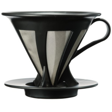 V60 02 Black/Stainless Steel Filter by Hario - Clandestine Coffee Co.