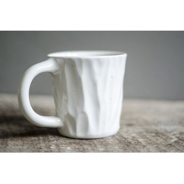 Short White Lumber Mug by Roseline Pottery - Clandestine Coffee Co.