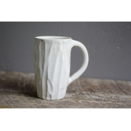Tall White Lumber Mug by Roseline Pottery - Clandestine Coffee Co.