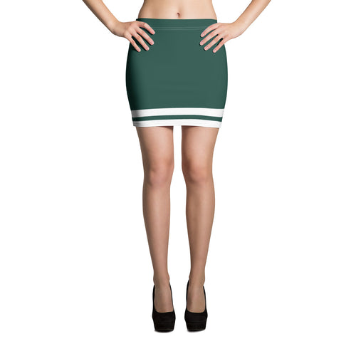Green and White Mini Skirt