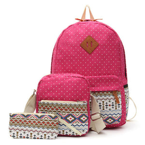 Graphic Canvas Backpack Set