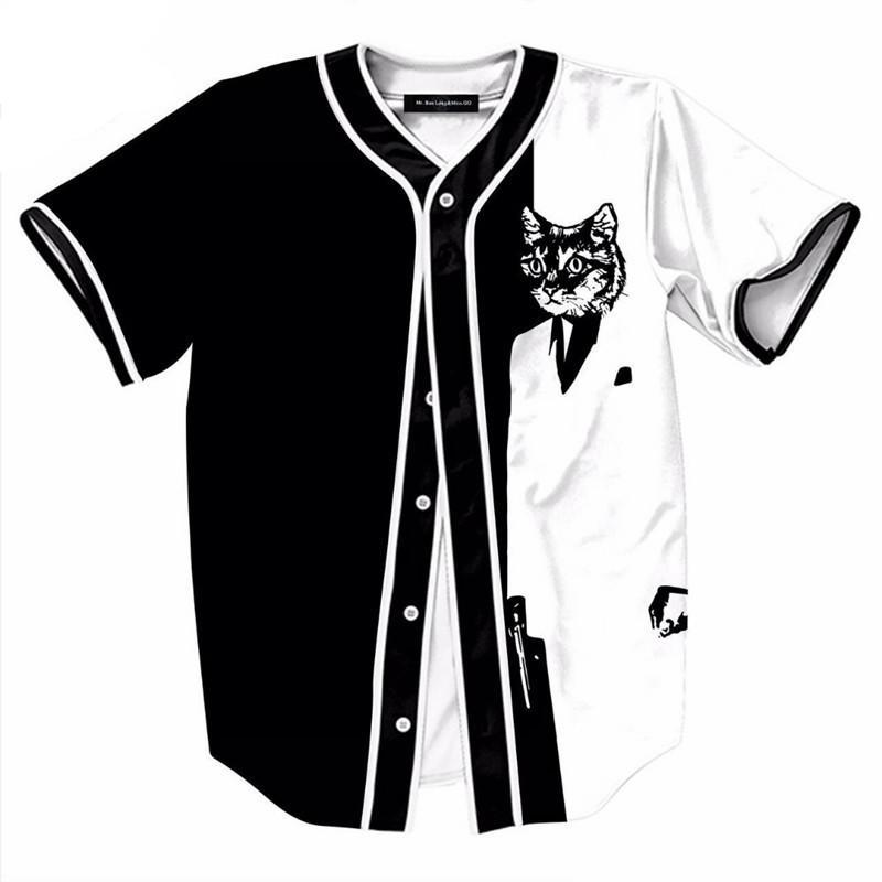 Cat Print Black and White Baseball Jersey