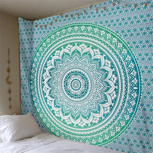 Teal Mandala Flower Bohemian Tapestry Dorm Decor