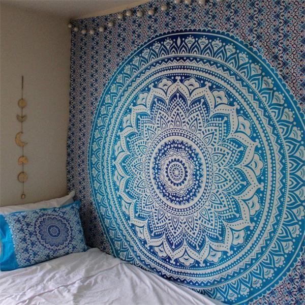 Blue Mandala Flower Bohemian Tapestry Dorm Decor