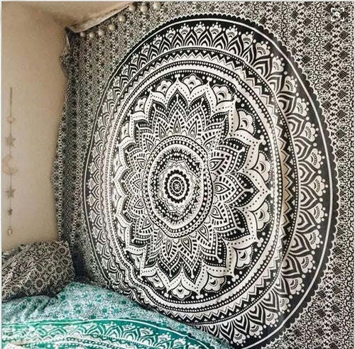 Black Mandala Flower Bohemian Tapestry Dorm Decor