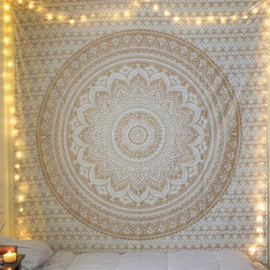 Orange Mandala Flower Bohemian Tapestry Dorm Decor