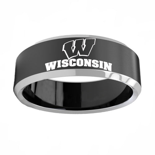 UW Madison Badgers Titanium Steel Ring