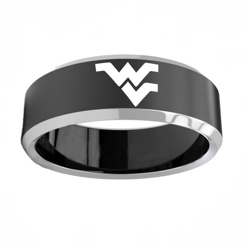 West Virginia Mountaineers Titanium Steel Ring