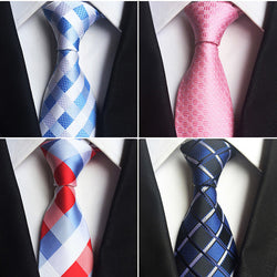 Classic 100% Silk Mens Ties New Design 8Cm Plaid & Striped Ties