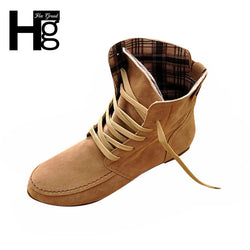 Hee Grand | Woman Ankle Flat Motorcycle Boots Artificial Leather Lace-Up Shoes