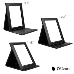 Ducare Cosmetic Mirror Black Super Slim Portable Foldable Leather Women Beauty Make Up Mirror 8.0X6.0 Inch