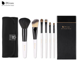 Ducare Professional Makeup Brushes Set 6Pcs Cosmetic Goat Hairs Weasel Hair Portable Powder Foundation Eye Brushes + Black Bag